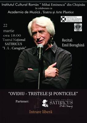 Doua spectacole-recital ale actorului Emil Boroghina la Chisinau