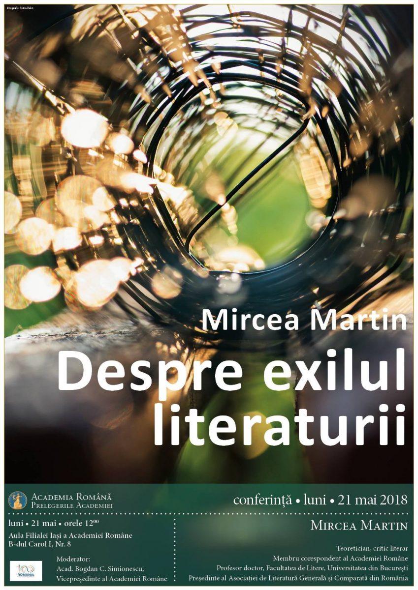 Mircea Martin la Iași cu prelegerea Despre exilul literaturii