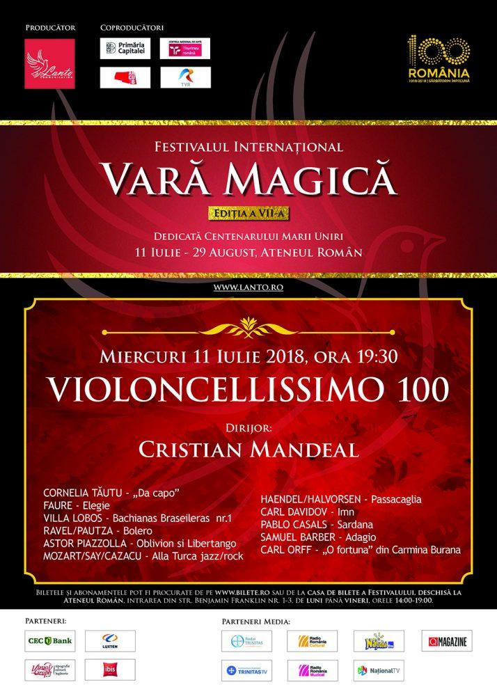 Cristian Mandeal dirijează o sută de violonceliști pe scena Ateneului pentru România 100