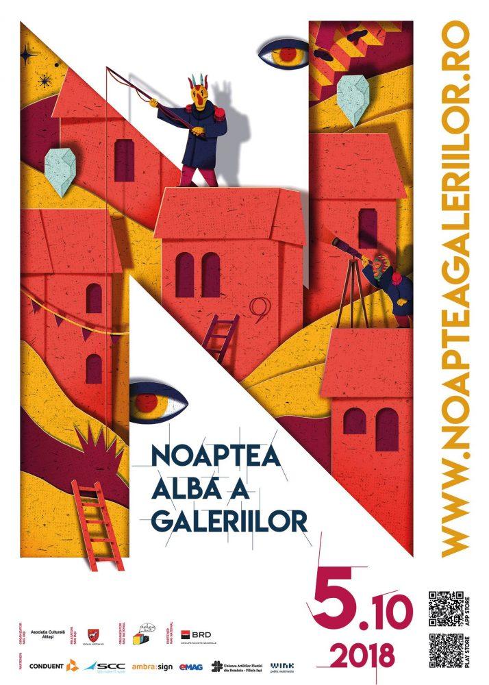 Vineri,5 octombrie 2018, la Iași are loc a treia ediție a Nopții Albe a Galeriilor