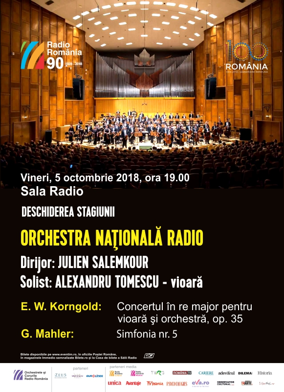 Alexandru Tomescu deschide noua stagiune de la Sala Radio din București