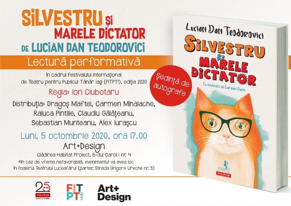 Lectura performativă & Ședință de autografe la FITPTI 2020: <i>Silvestru și Marele Dictator</i> de Lucian Dan Teodorovici